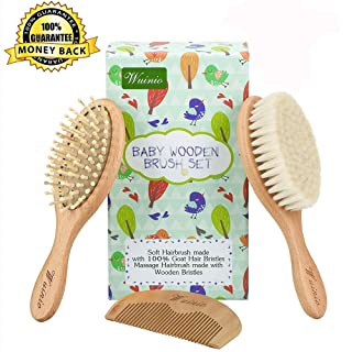 4Pcs Wooden Baby Goat Hair Brush and Comb Set Grooming kit for Newborns Toddlers/Soft Goat Hair Bristles for Cradle Cap/Wood Bristles Brush for Massage/Baby Shower Registry Gift Wuinio