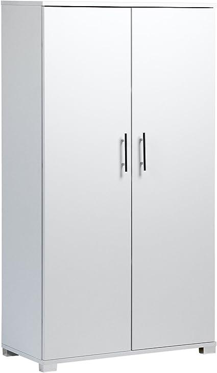 per riporre accessori di cancellerie 800 mm d larghezza Armadio da ufficio 2 ante di colore bianco con 4 ripiani grande capienza fino a 40 scatole di documenti di formato A4