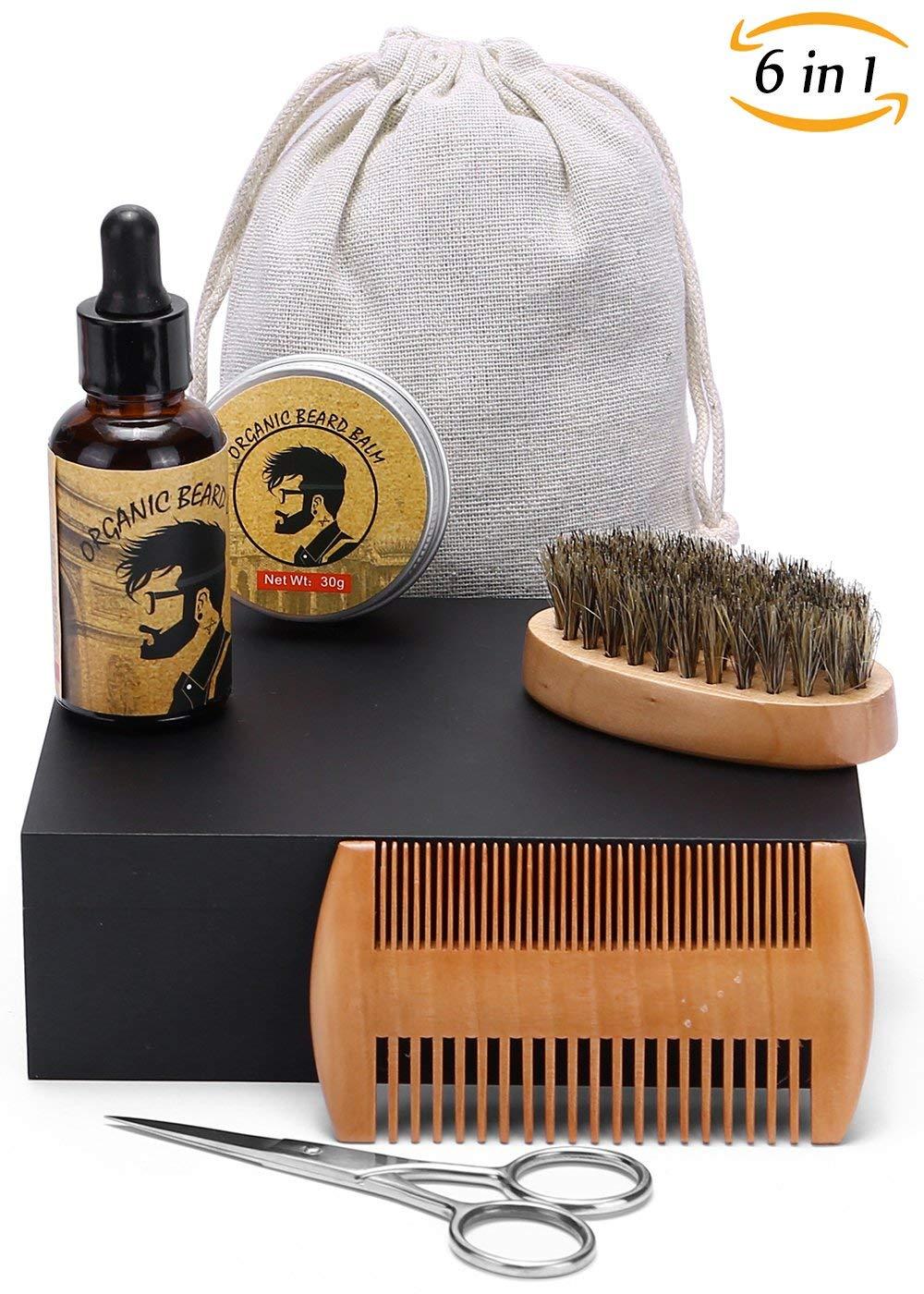 HappyCoCo Barba y bigote y estética Kit-Barba y estética y el recorte fijado para el Cuidado de los hombres de Viking-Barba aceite, de viaje y la caja de madera incluida