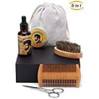 Beard Grooming Kit Beard Oil Men Care Set, Moustache Trimming Board Bristle Brush, Balm, Comb, Scissors for Styling, Shaping and Growth with Travel Bag in Wooden Box by Happycoco