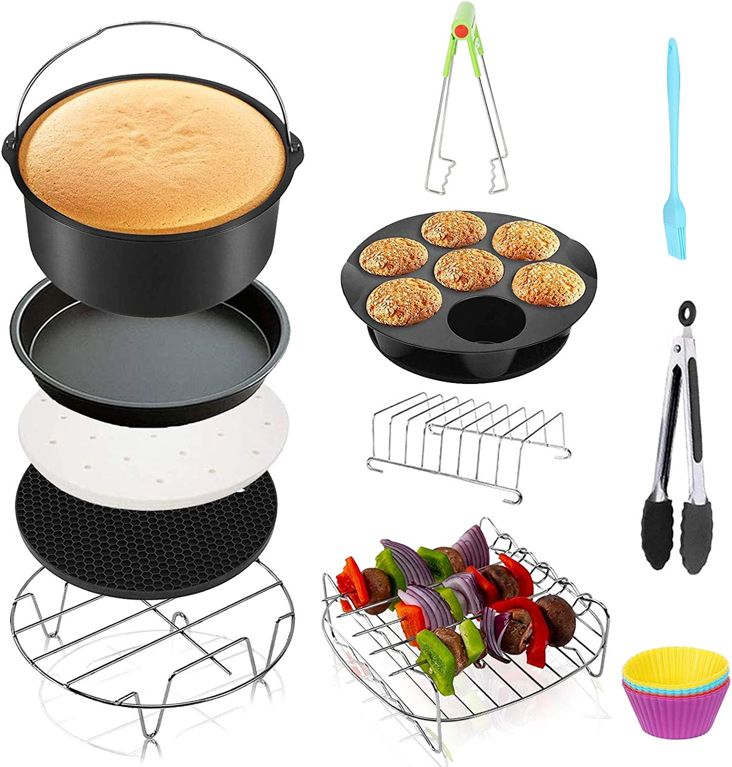 Signstek Air Fryer Accessories Kit XL 8 Inch 13pcs Compatible for Phillips Ninjia Cozyna Air Fryer and Other Square Air Fryers, Deep Air Fryer Accessories Fit All 4.2 QT-6.8 QT Air Fryer