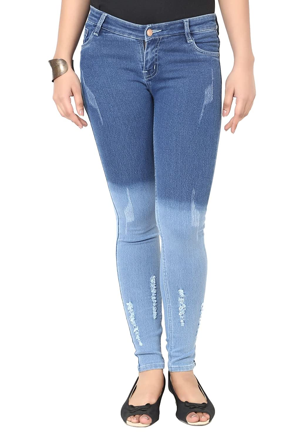 9271a03e6 Knight Vogue Light Blue Denim Lycra Slim Fit Casual Jeans for Women   Amazon.in  Clothing   Accessories