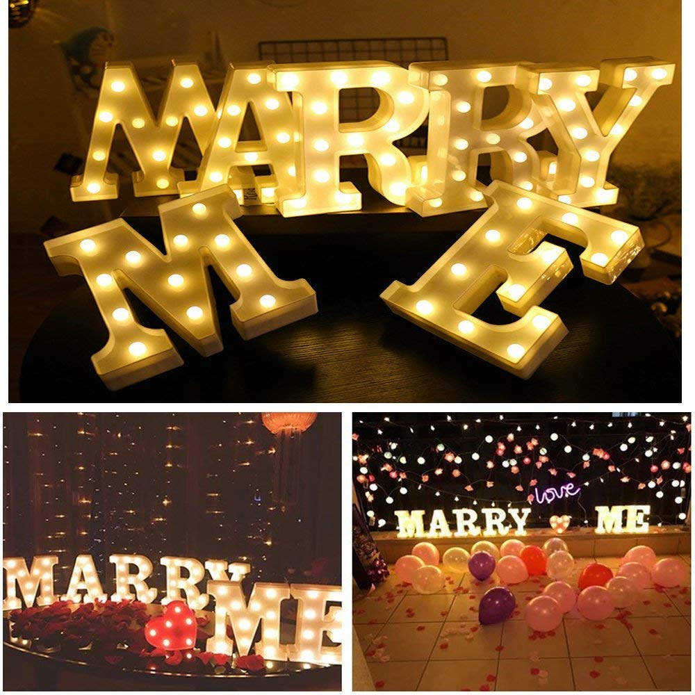Light Up Letters,Neon Number Sign Wall Decorative Neon Lights Warm White Letter Lights Night Lamp for House Bar Pub Hotel Kids Room, Living Room, Birthday Wedding Party Decor (Marry Me)