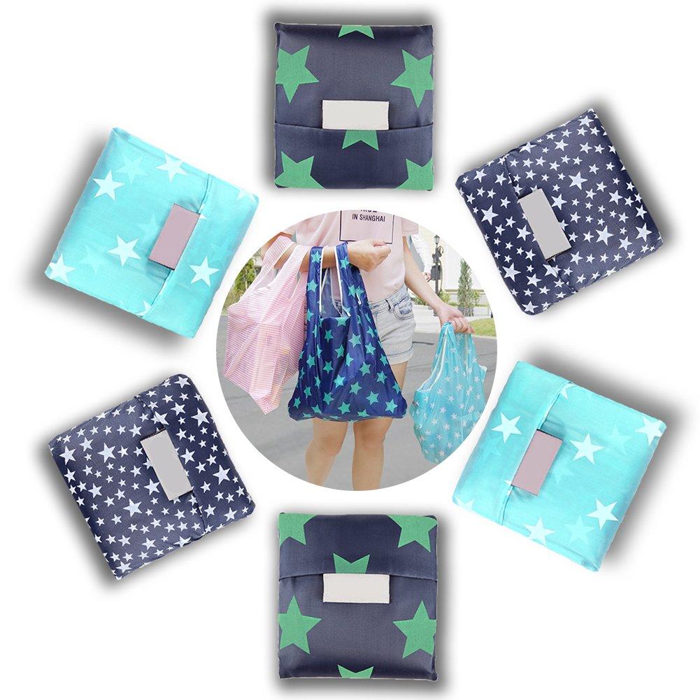 超特価激安 Reusable Grocery Bags Bags 6パック丈夫な Grocery、大容量携帯型ショッピングバッグ折りたたむことができる、environmentally-friendly洗濯可能防水ナイロンバッグのポケット(Starry Sky、ストライプ、ドット) スター 4.3