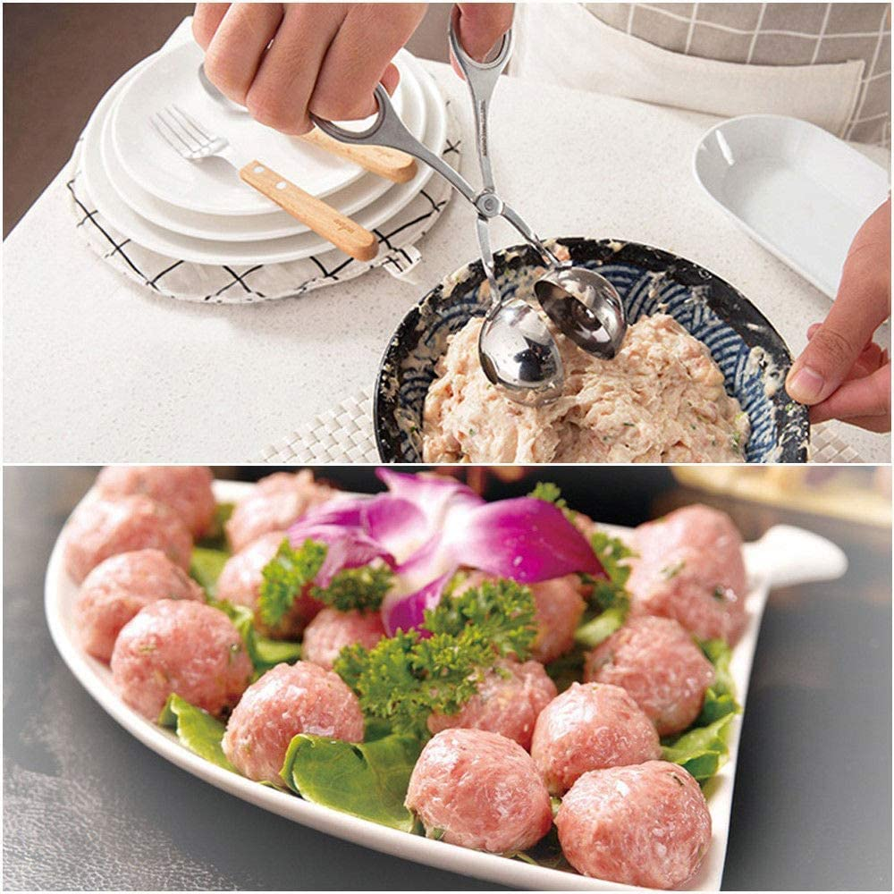 Kithen Tongs Justdolife Stainless Steel Meat Baller Tongs Meatball Maker Ice Tongs for Kitchen