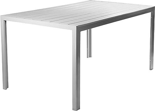 Vanage - Table de Jardin en aluminium - Modèle Helsinki - Avec cadre en  aluminium - Dimensions env. 90 x 150 cm - Pour 6 Personnes - Design classe  et ...