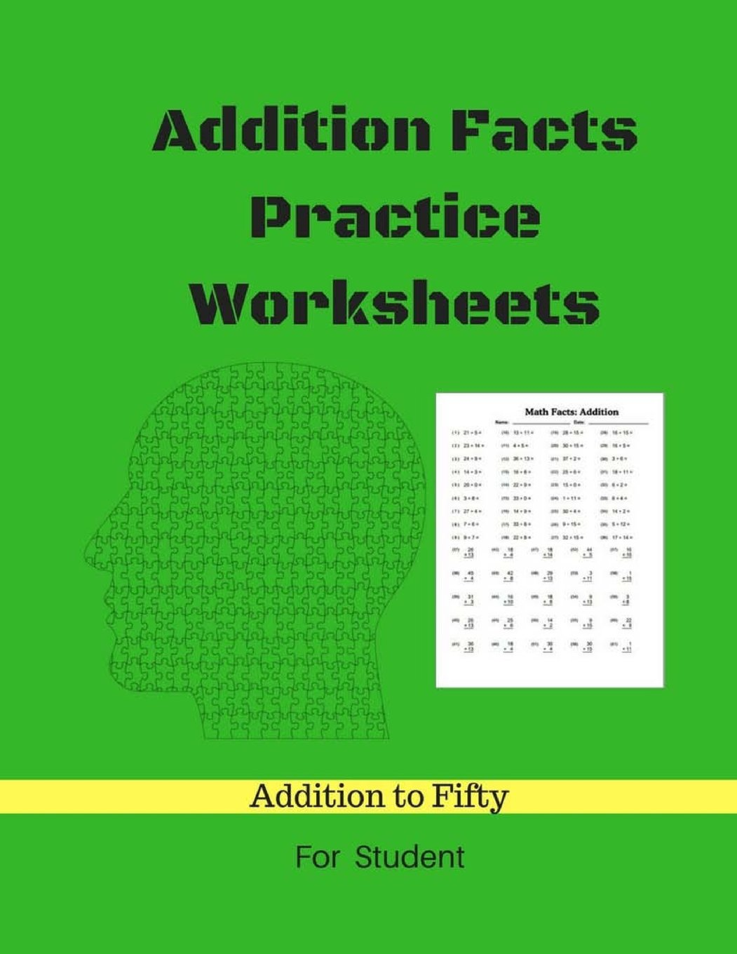 addition facts practice worksheets addition math to fifty addition  addition facts practice worksheets addition math to fifty addition  worksheets arithmetic workbook with answers paperback  march