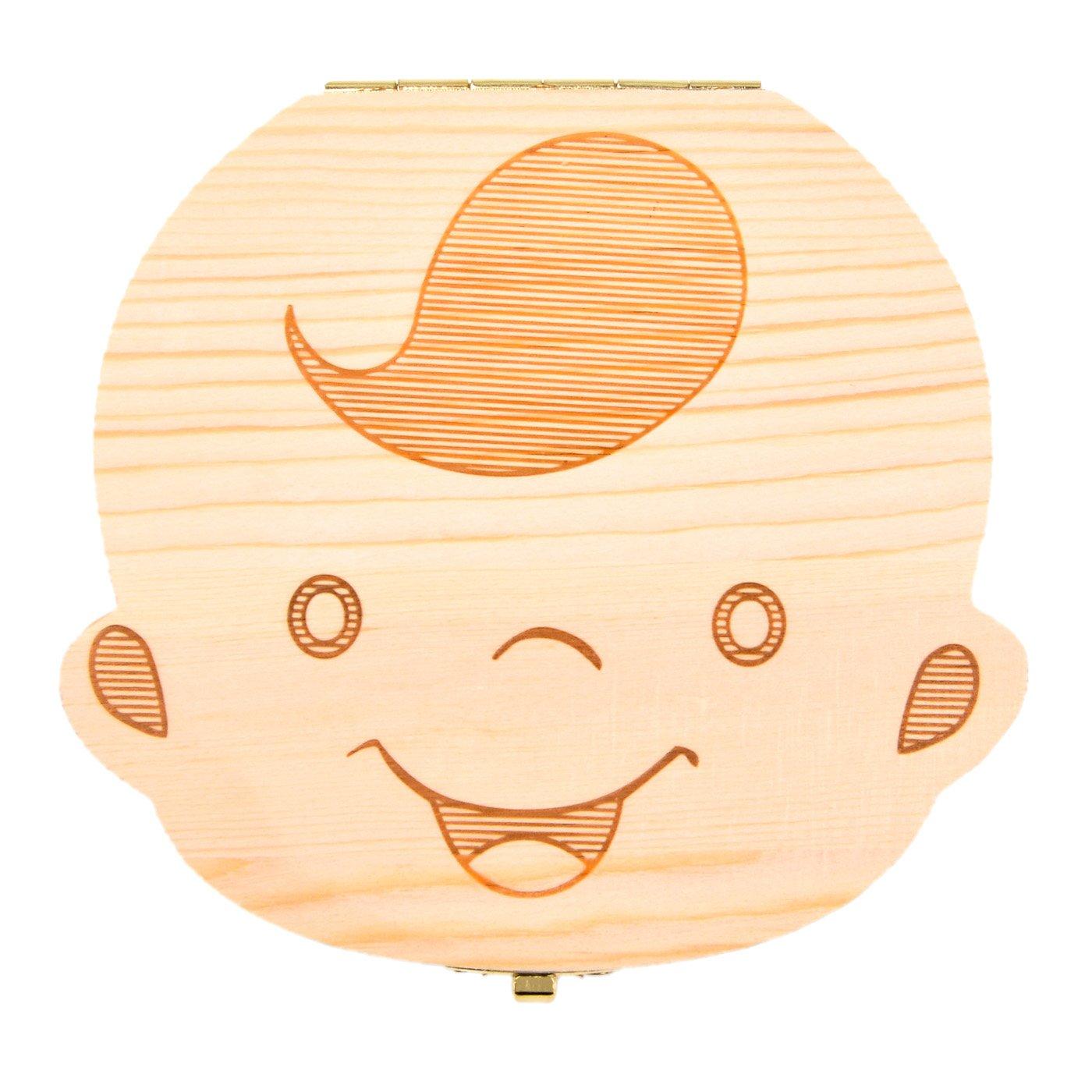 Caja de dientes de bebé Guardar cajas de madera Primera caja de hadas de dientes Recuerdo de peluche titular de dientes personalizado para niño NOVSIX