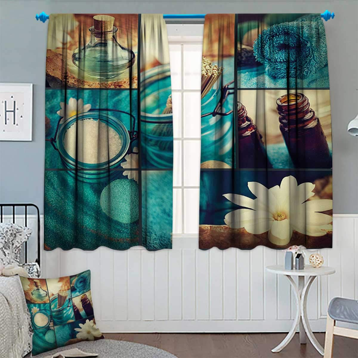 Anhounine Spa,Blackout Curtain,Blue Themed White Daisies Scents Towels and Incense Artwork Collage Design,Window Curtain Fabric,Blue Brown and White,W120 x L84 inch