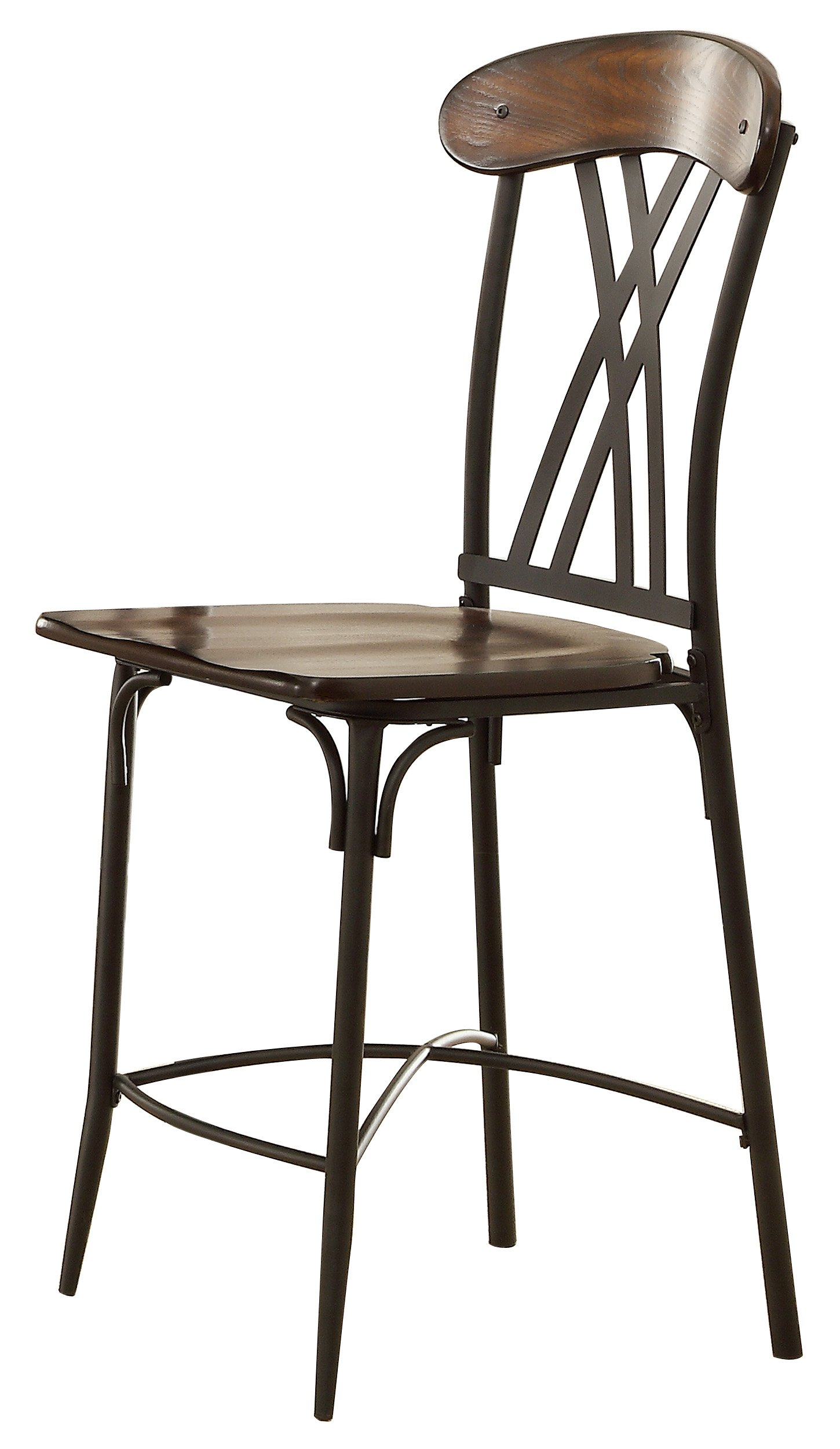 Homelegance 5149-24 Wood and Metal Counter Height Chair, Brown/Black, Set of 4