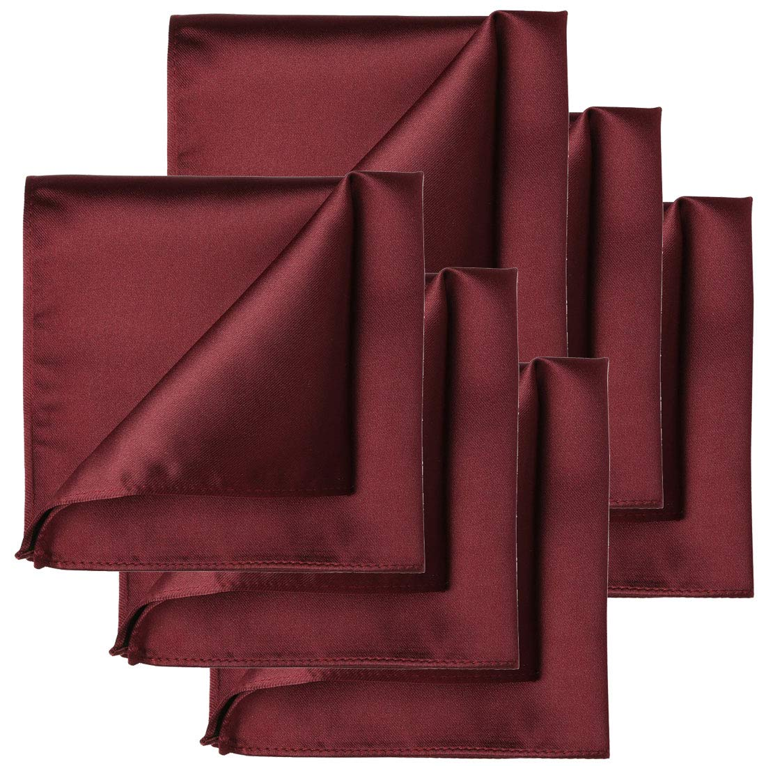 KissTies 6 PCS Burgundy Satin Pocket Square Solid Color Hankies Gift Set