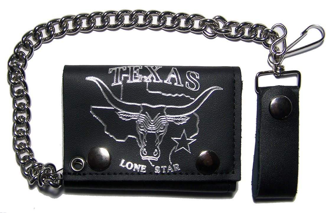 TEXAS LONE STAR with BULL /& HORNS Mens Biker Leather Tri-fold Wallet with Chain