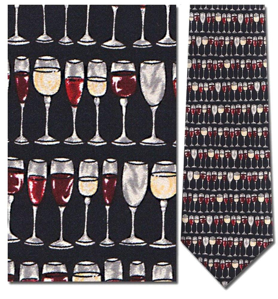 Mens 100% Silk Navy Blue Wine Glasses Stacked Tie Necktie