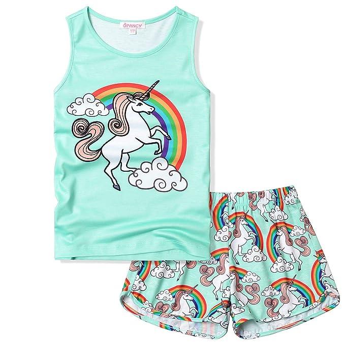 Amazon.com: QPANCY Pijamas de unicornio para niñas Pj Sets ...