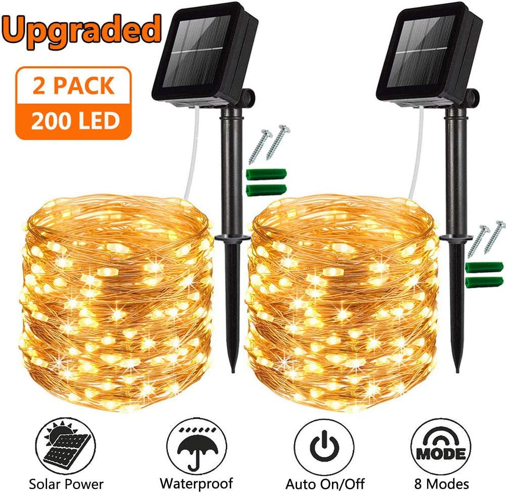 Bedroom Decor Wedding Yard Cool White Upgraded 2 Pack Solar Fairy Lights 8 Modes 50 LED Silver Wire Garden Lights Waterproof Outdoor String Lights for Party Solar String Lights