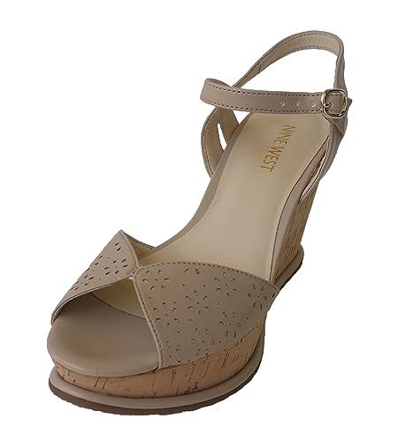 2b2699456d6e Nine West Women s Flower Cut Out Platform Wedge Heel Sandals (10 M) Nude