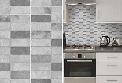 Grey Stone Tile Effect Expanded Vinyl Kitchen Bathroom Wallpaper By