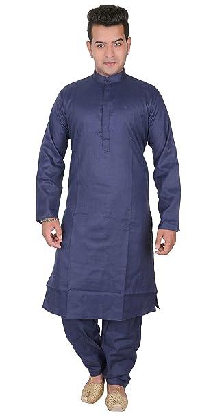 Desi Sarees Hombre Indio Azul Marino Algodón Kurta Salwar Kameez Disfraces Pijama 1800 (S (