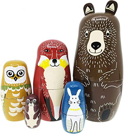 Nesting Dolls-Brown Cartoon Bear Fox Owl Rabbit Raccoon Nesting Doll Wooden Matryoshka Russian Doll Handmade Stacking Toy Set 5 Pieces for Kids Girl