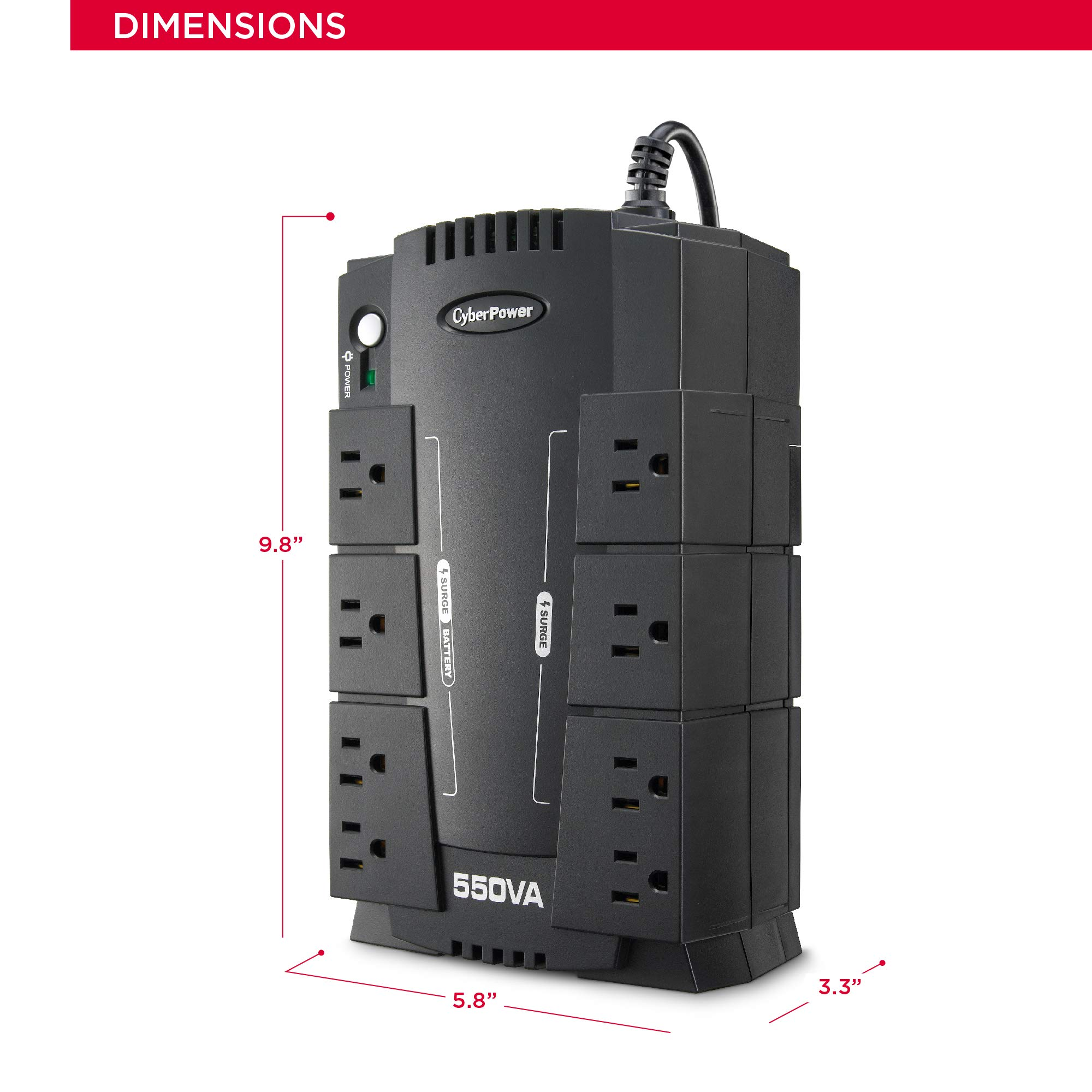 CyberPower CP550SLG Standby UPS System, 550VA/330W, 8 Outlets, Compact by CyberPower (Image #4)