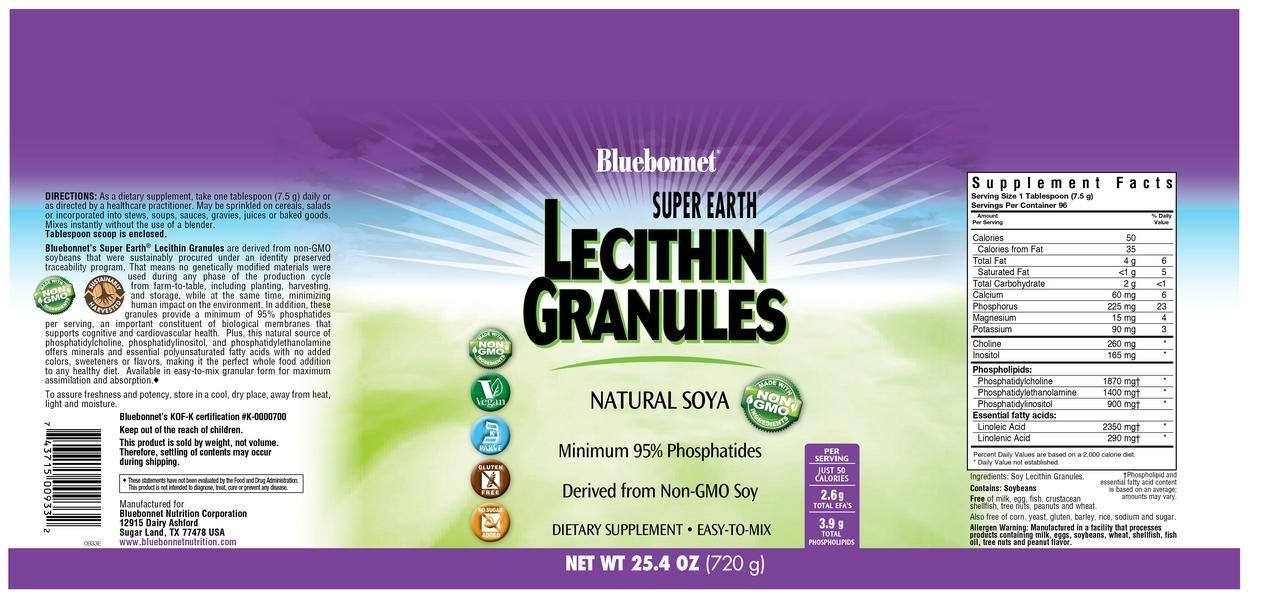 Bluebonnet Nutrition Super Earth Lecithin Granules, 25.4 oz by BlueBonnet