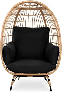 Best Choice Products Wicker Egg Chair, Oversized Indoor Outdoor Lounger for Patio, Backyard, Living Room w/ 4 Cushions, Steel Frame, 440lb Capacity - Black