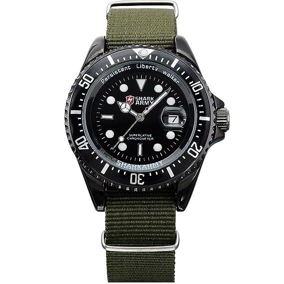 SHARK ARMY SAW016 Reloj Hombre de Cuarzo, Correa de Nylš®n Verde,: Amazon.es: Relojes