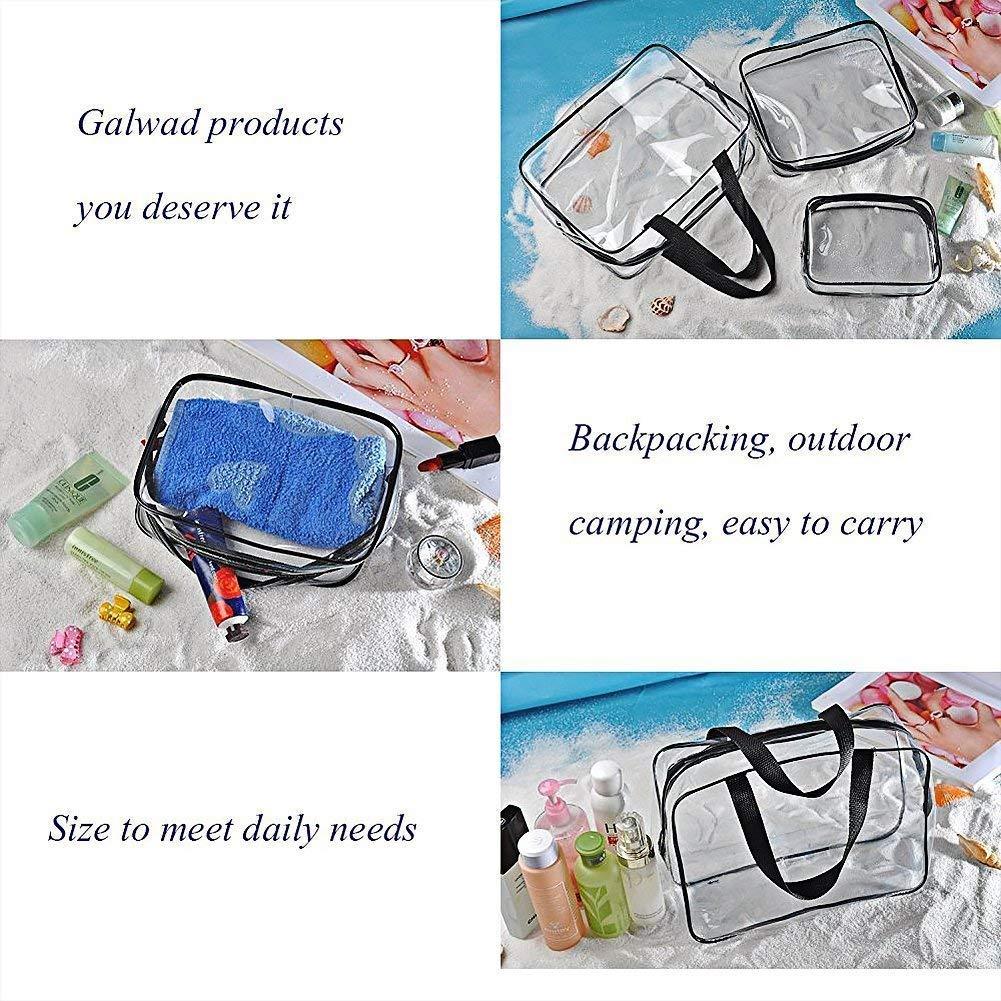 3 bolsas de almacenamiento de maquillaje para cosm/éticos con asas de color negro y transparente