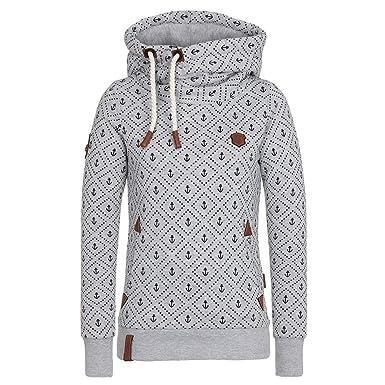 Damen Lange Ärmel Hoodie Frauen Kapuzenpullover Pullover mit Kapuze Cross  Over Kragen und Fleece Innenseite Grau 3933073d79