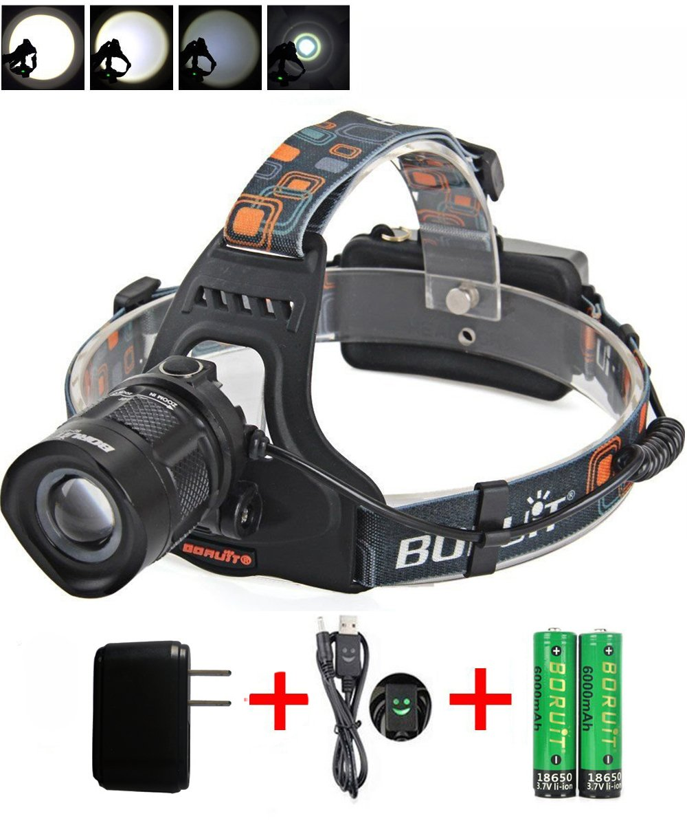 Zoomable XM-L2 LED Headlamp USB Adjustable Head Torch Lamp Light, 5 Modes flashlight for Camping Hiking Reading Cycling Hunting Running Irontria