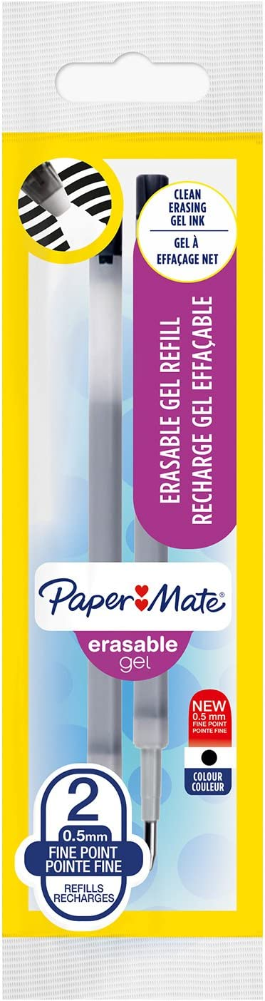 Paper Mate Erasable Gel ricariche per penne confezione da 2 punta fine da 0,5 mm nero