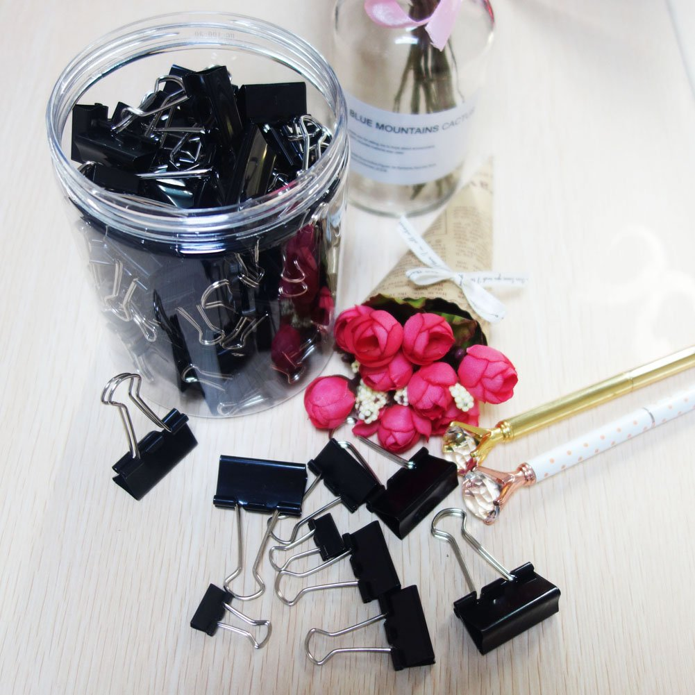 125pcs Binder Clips,Paper Clamp Clips for Letter Notes Paper Binder Office/School Supplies,Assorted Sizes by eQFeast (Image #5)
