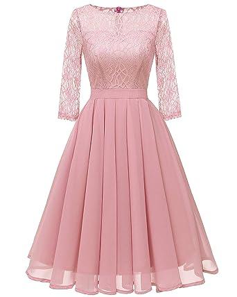 1b4e5b93b0d7 Women s Lace Midi Dress Sheer Long Sleeves Skirt A Line Chiffon Homecoming  Dresses Blush Pink S