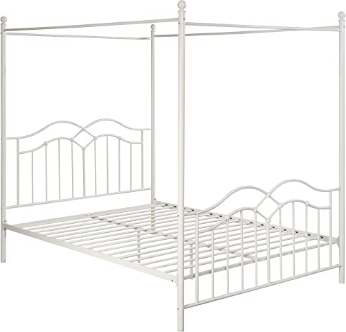 Christopher Knight Home 308302 Simona Traditional Iron Canopy Queen Bed Frame, White