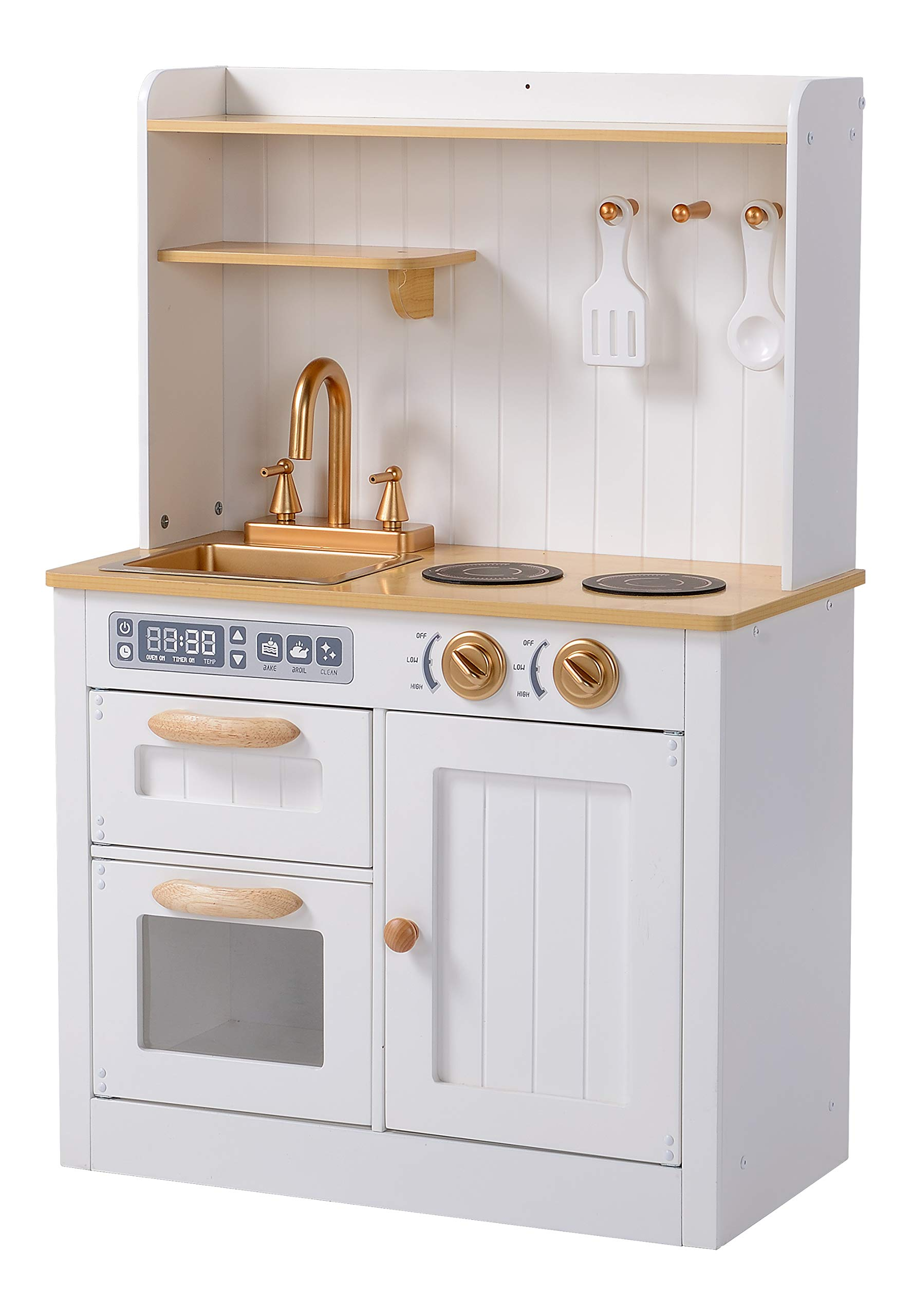 Hooga Toy Kitchen Wooden Play Kitchen With Realistic Oven Storage Cupboards Utensils And Sink With Taps White Kitchen Playset With Utensils And Interactive Dials Buy Online In Dominica At Dominica Desertcart Com Productid