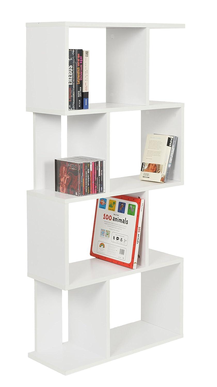 ts-ideen /Étag/ère Design Espace de Stockage pour Livres CD Bois Blanc 128,5 x 60 cm