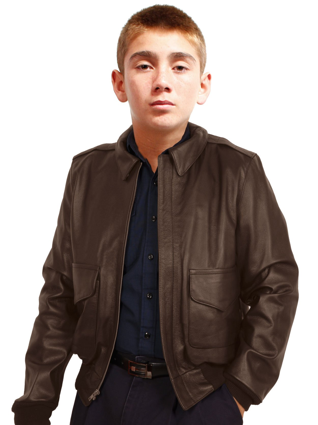 Kids A2 Air Force Leather Bomber Jacket