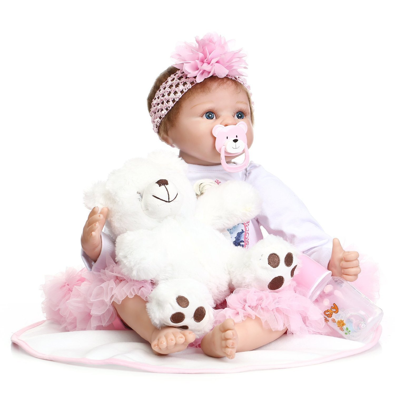 NPK美しいReal Life Reborn人形ガールLifelike新生児赤ちゃん人形おもちゃ55 cm / 22インチFree磁気おしゃぶり   B01DXVZFCK