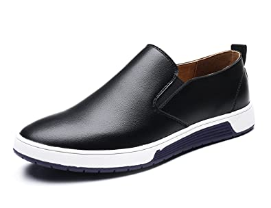 XMWEALTHY Men s Casual British Style Slip on Loafers Flats Business Dress  Shoes Black US 6.5 ea3529341559