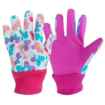 3 paia di guanti da giardinaggio morbidi e confortevoli per bambini dai 5 ai 9 anni