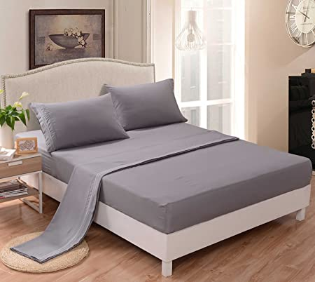 [hachette] 50:50 POLY COTTON RICH QUALITY PERCALE FITTED SHEET SILVER GREY