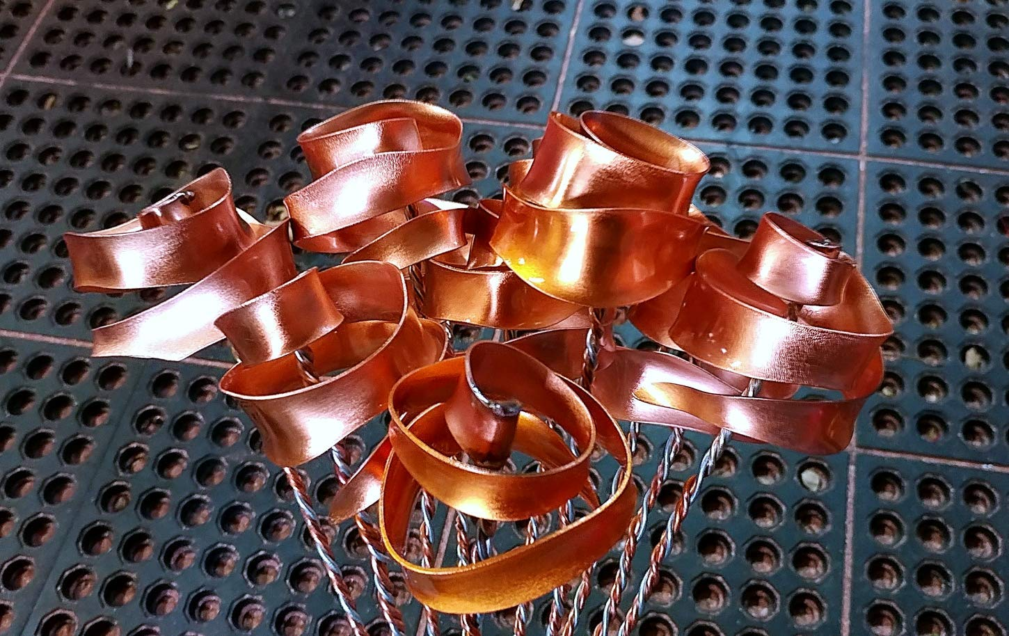 Set of 3 Bright Copper Forever Roses #813'' I Love You'' Steampunk - Wedding Prom Graduation 7th Anniversary Regalo de Aniversario Hanukkah Kwanzaa Valentine's Mother's Day Christmas Gift ! by Refreshing Art (Image #1)