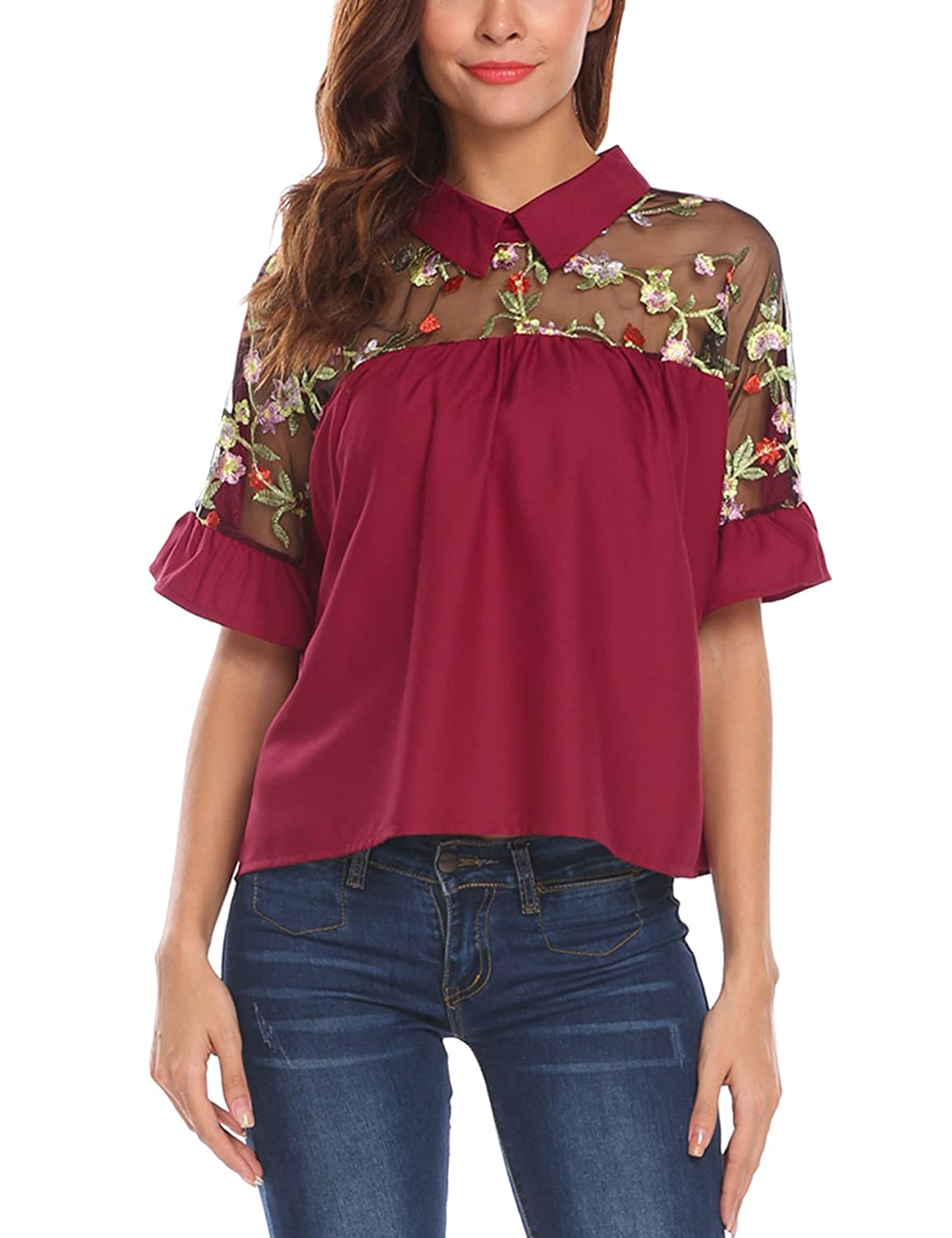 1f43ee3d Sheer neck, collared, embroidered style, cack bow tie short sleeve reffle  blouse. Make of high quality and soft material, comfortable to wear