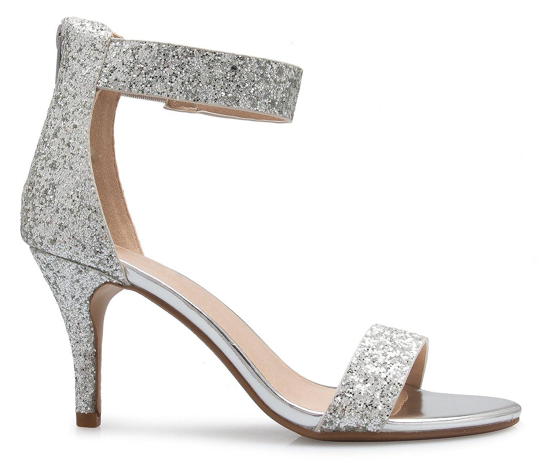 838a7d24f10 OLIVIA K Women's Open Toe High Heel Ankle Strap Sandal