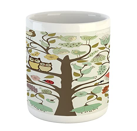 Amazon.com: Animales taza por lunarable, estilo retro árbol ...