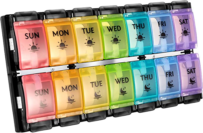 AM PM Weekly 7 Day Pill Organizer, Large Daily Pill Cases Pill Box with Easy Push Button Pill Reminder Container for Medicine Vitamin Pills Fish Oil and Supplement (Rainbow Black)
