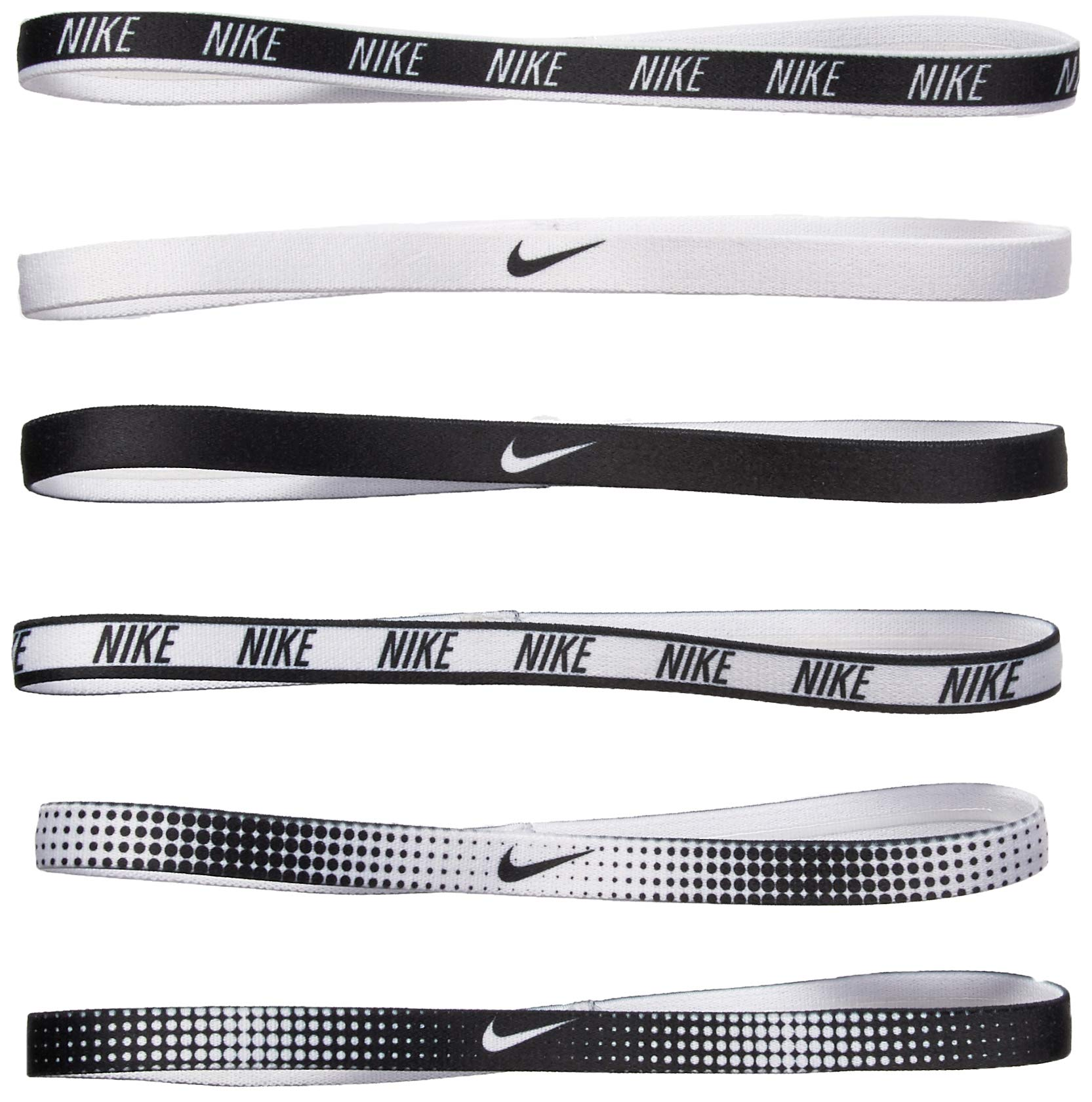 Nike Women's Printed Headbands Assorted 6PK White/Black Size One Size by Nike