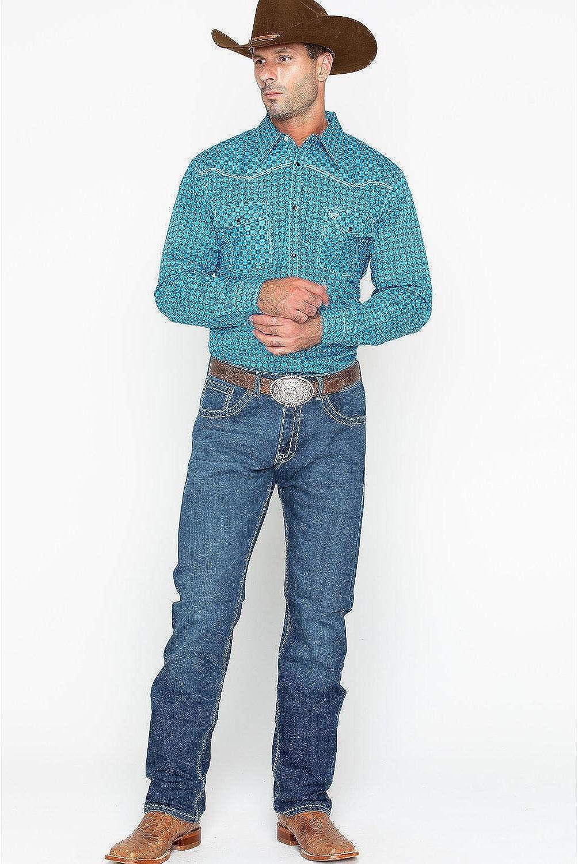 125335-403 Cowboy Hardware Mens Print Long Sleeve Western Shirt
