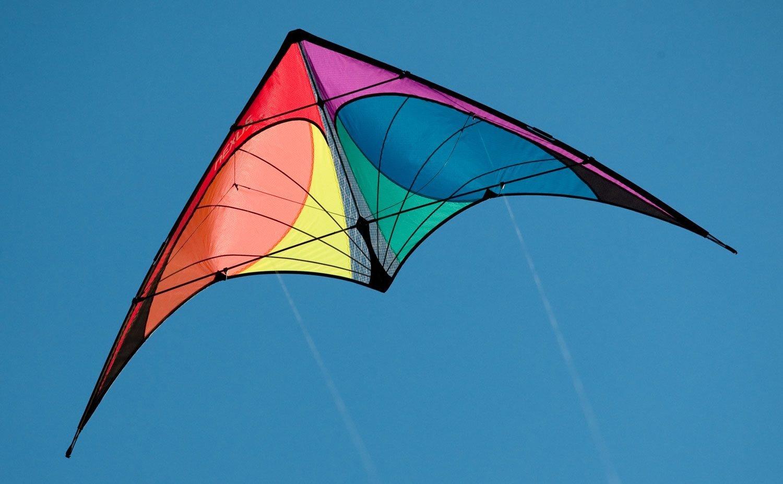 Prism Nexus Dual Line Delta Framed Stunt Kite with 40' Tail Bundle (3 Items) + Prism 40ft Ripstop Streamer Tail Yellow + WindBone Kiteboarding Lifestyle Stickers + Key Fob (Spectrum) by Prism, WindBone (Image #4)