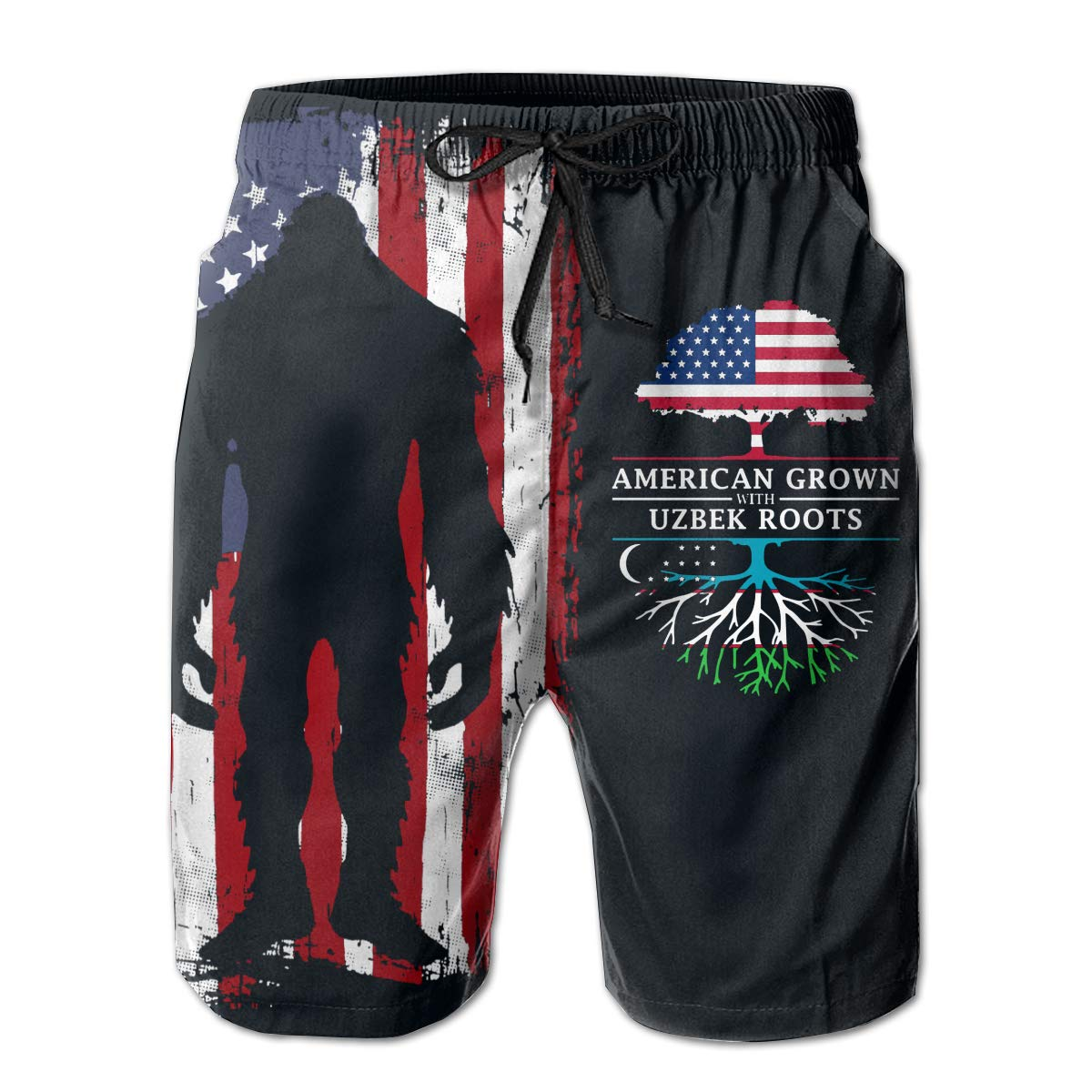 Dtgfdt1 American Grown with Uzbek Roots Mens Quick Dry Mesh Lining Beach Board Shorts with Pockets